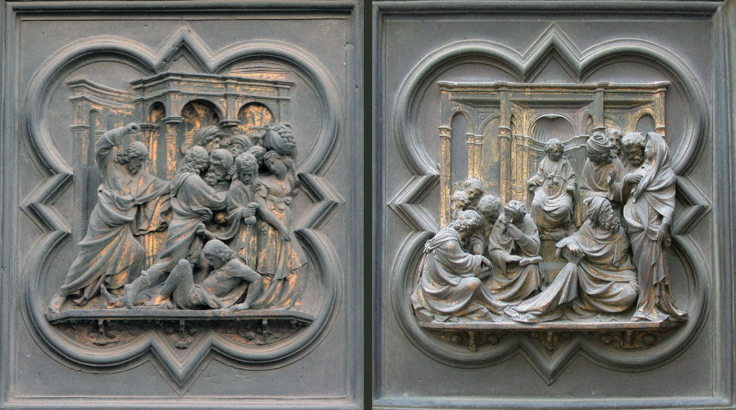 Panels of the north portal first door by Ghiberti ... & Baptistery of San Giovanni - Florence