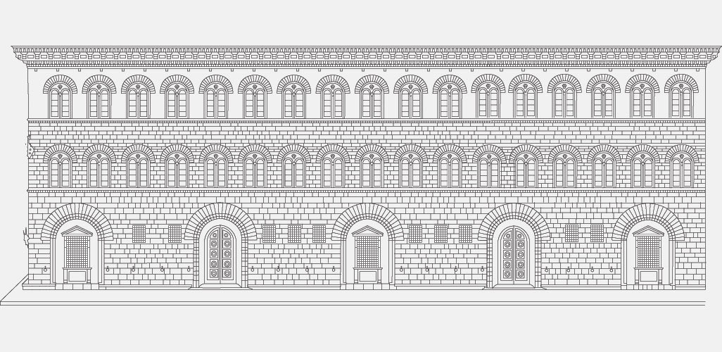 Floor Front Elevation Church : Medici riccardi palace florence