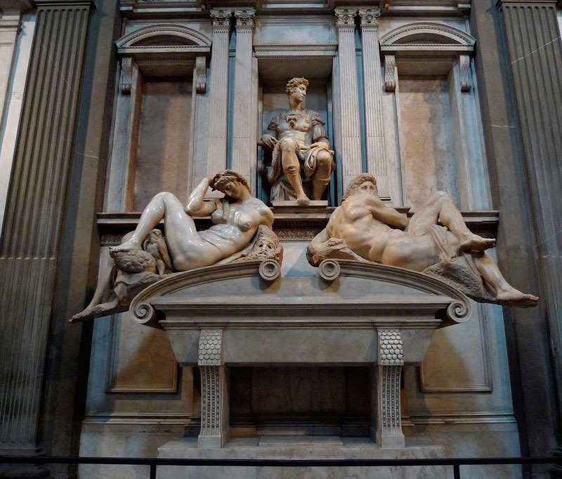 Michelangelo Tomb of Giuliano Duke of Nemours with the statues Day and Night