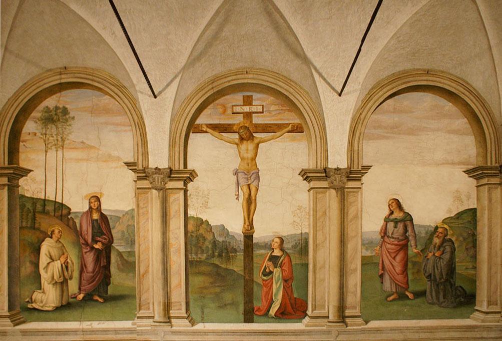 Image result for Santa Maria Maddalena dei Pazzi Crucifixion fresco by Perugino